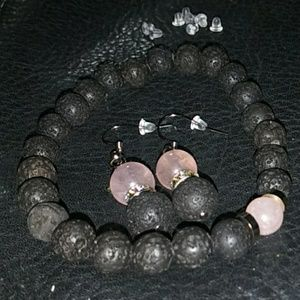 Jewelry - Lava bead bracelet for essential oil w/earrings